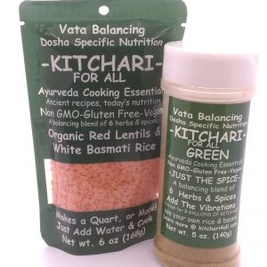 A bag of kitchari & a bottle of kitchari spices from Kitchari4all