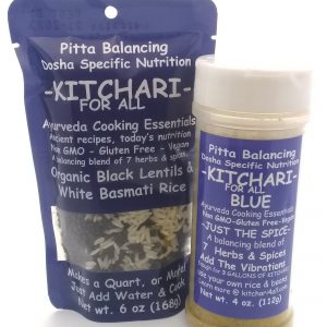 A bag of blue Kitchari4all & a bottle of blue kitchari spices from kitchari4all